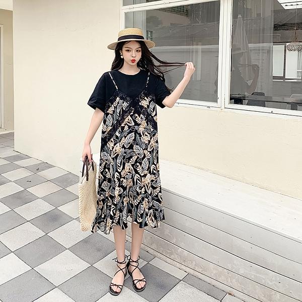 VK旗艦店 韓國風復古時尚假兩件碎花吊帶魚尾短袖洋裝