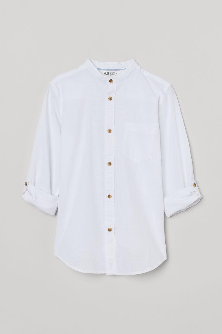 H & M - 祖父領襯衫 - 白色