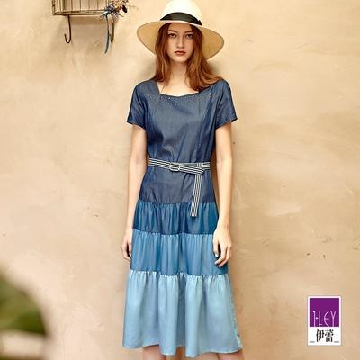ILEY伊蕾 萊賽爾法式方領亮鑽漸層色蛋糕洋裝(藍)1212068769