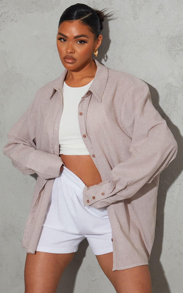 Tan Stripe Oversized Linen Look Cuff Shirt