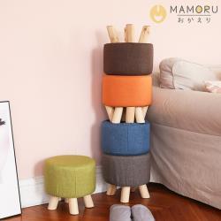 《MAMORU》舒適棉麻實木椅腳矮凳(布面可拆洗/實木椅腳/椅凳置腳凳穿鞋椅圓凳)