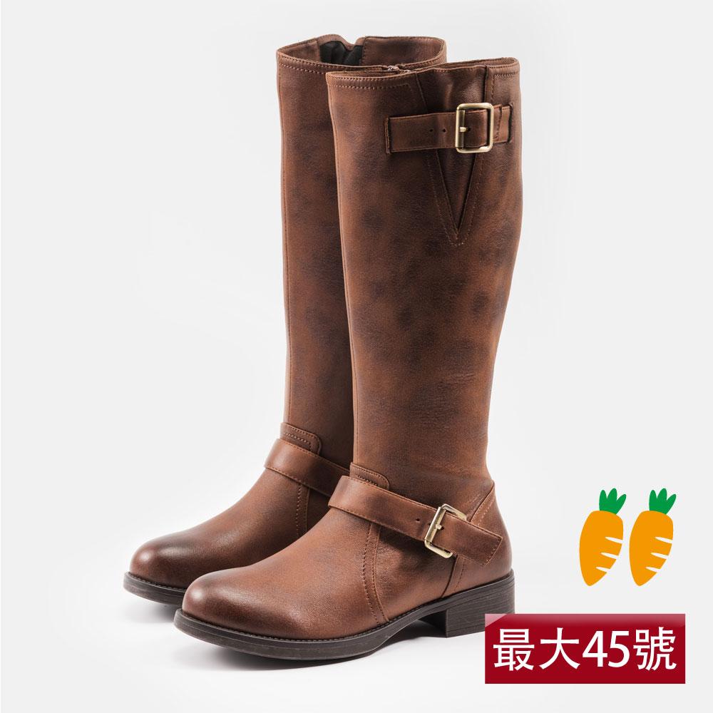 Kuru Mira包容肉肉腿的雙釦直筒長靴-咖