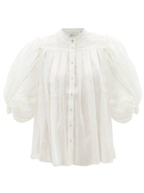Aje - Modest Balloon-sleeve Linen-blend Blouse - Womens - Ivory