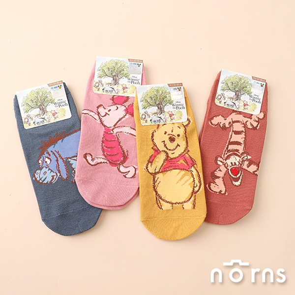 小熊維尼手繪風系列直版襪-Norns 迪士尼正版 跳跳虎 小豬 屹耳 襪子 棉襪