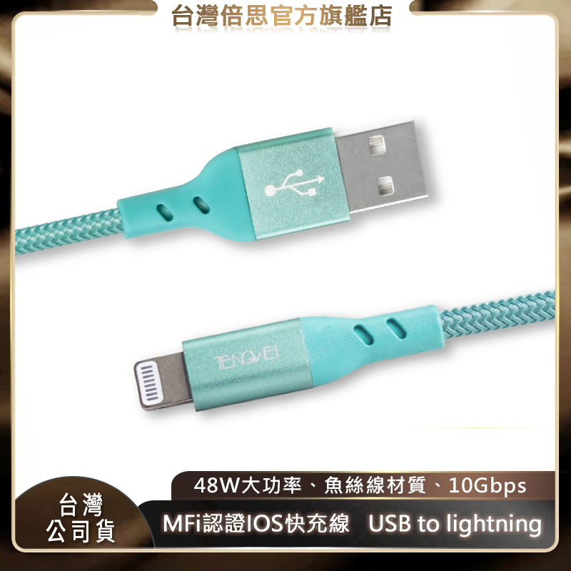 【TENGWEI】騰緯 MFi認證 48W PD快充線 Type-C To Lightning