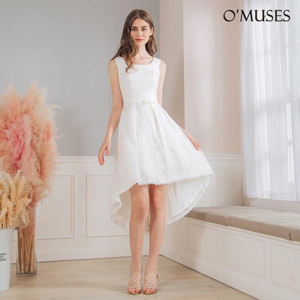 OMUSES 珍珠蕾絲前短後長白色禮服