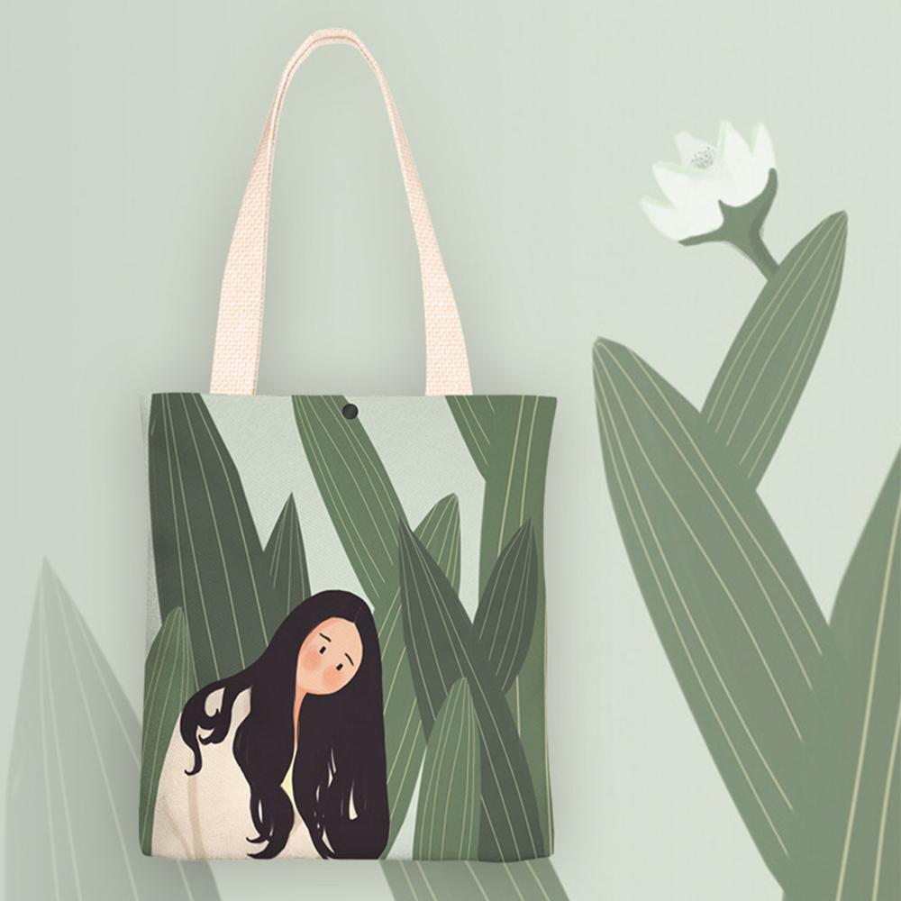 【KISSDIAMOND】文青風創意塗鴉手提肩背帆布袋-花葉女孩(KDB-0116)