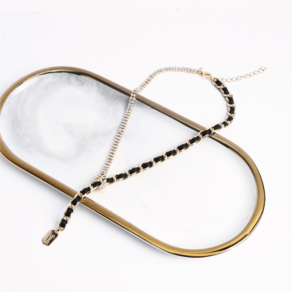 SO NICE個性鎖鏈結亮鑽交織短項鍊