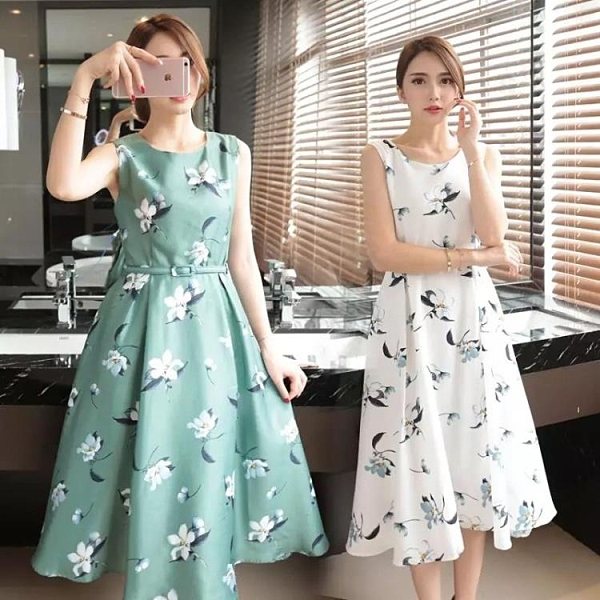 無袖洋裝 無袖洋裝通勤氣質洋裝女夏裝韓版中長款印花收腰顯瘦花色大擺裙