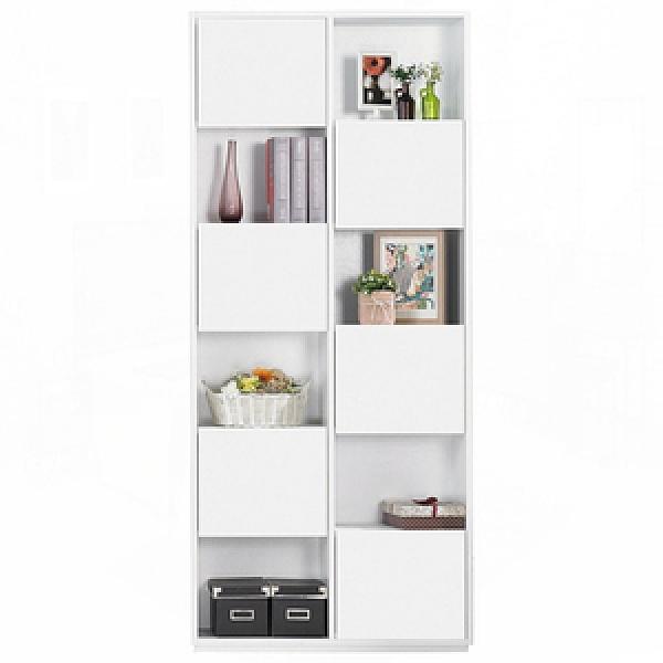 布拉格2.7尺白色六單門書櫃–右