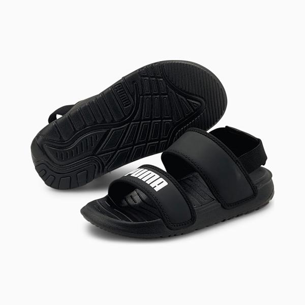 PUMA Soft Sandal PS 黑色運動涼拖中童鞋-NO.37569501