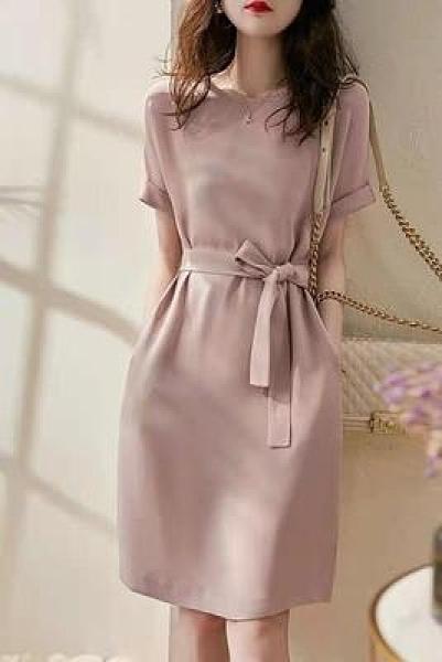 中長版洋裝溫柔霧粉色系帶A字裙修身中長款連身裙7667NE440.1號公館