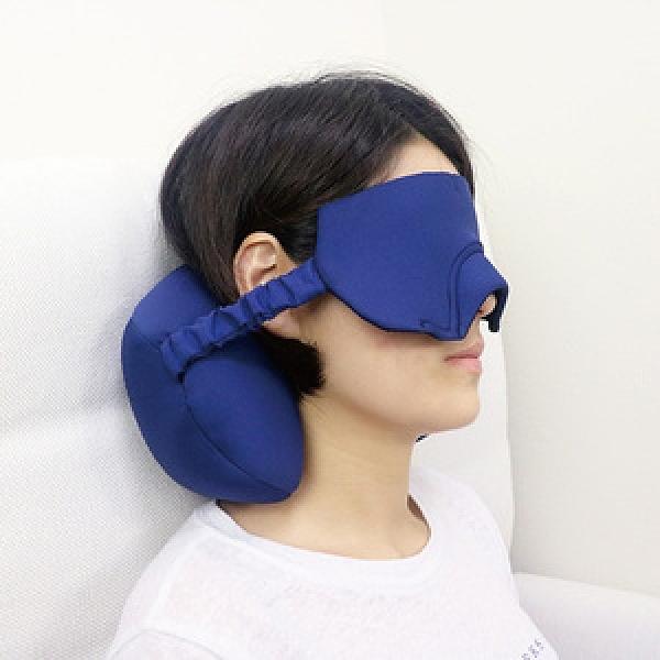 【Prodigy 波特鉅】2合一眼頸枕-旅遊良品 睡眠輔助 眼罩遮光佳深藍