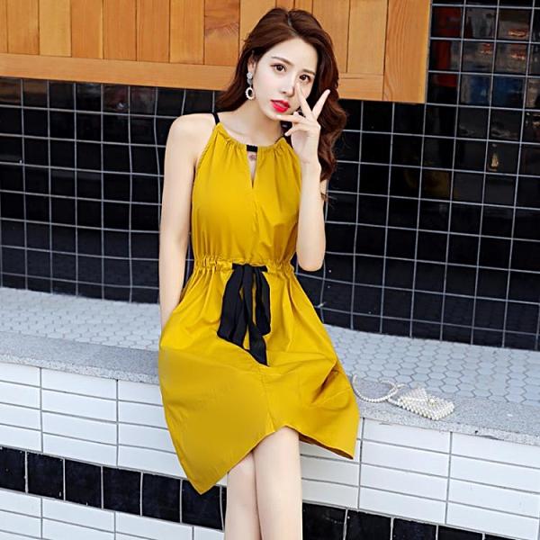 無袖洋裝 法式無袖洋裝2021女夏小眾設計感新款氣質中長裙顯瘦小個子收腰A字裙