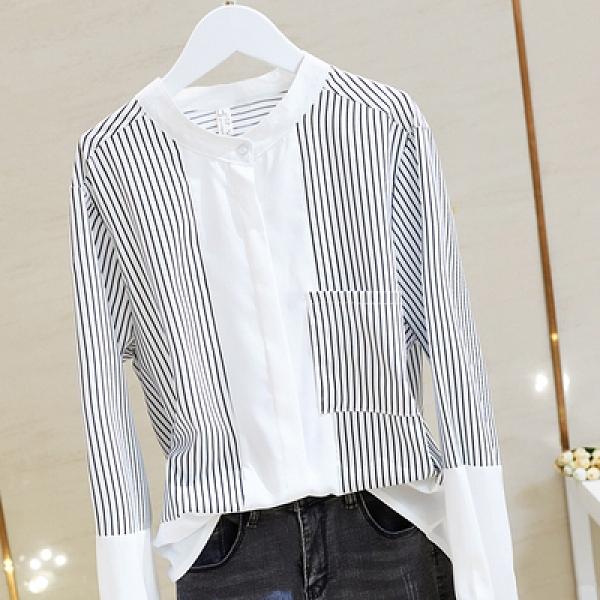 防曬襯衫黑白條紋拼接襯衫女時尚個性小立領網紅前短后長襯衣3F068.胖丫