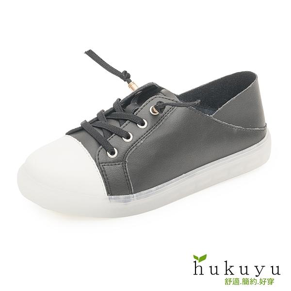 休閒鞋 真皮縷空後踩小白鞋(白/黑)*hukuyu【18-839bk】【現+預】