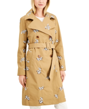 Charter Club Embroidered Trench Coat, Created for Macy's