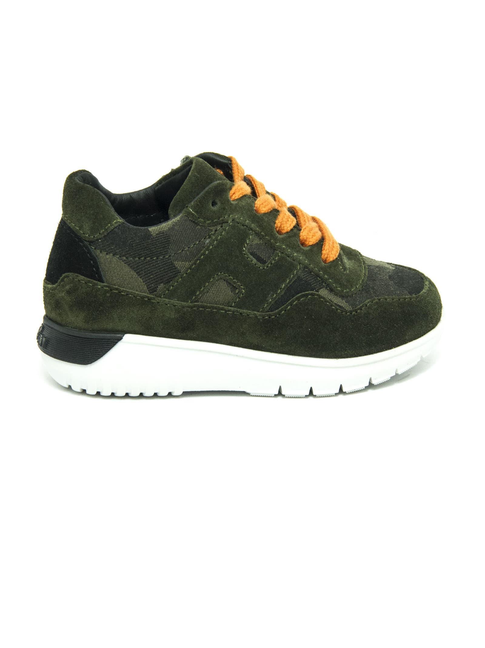 Hogan Sneakers In Green Suede