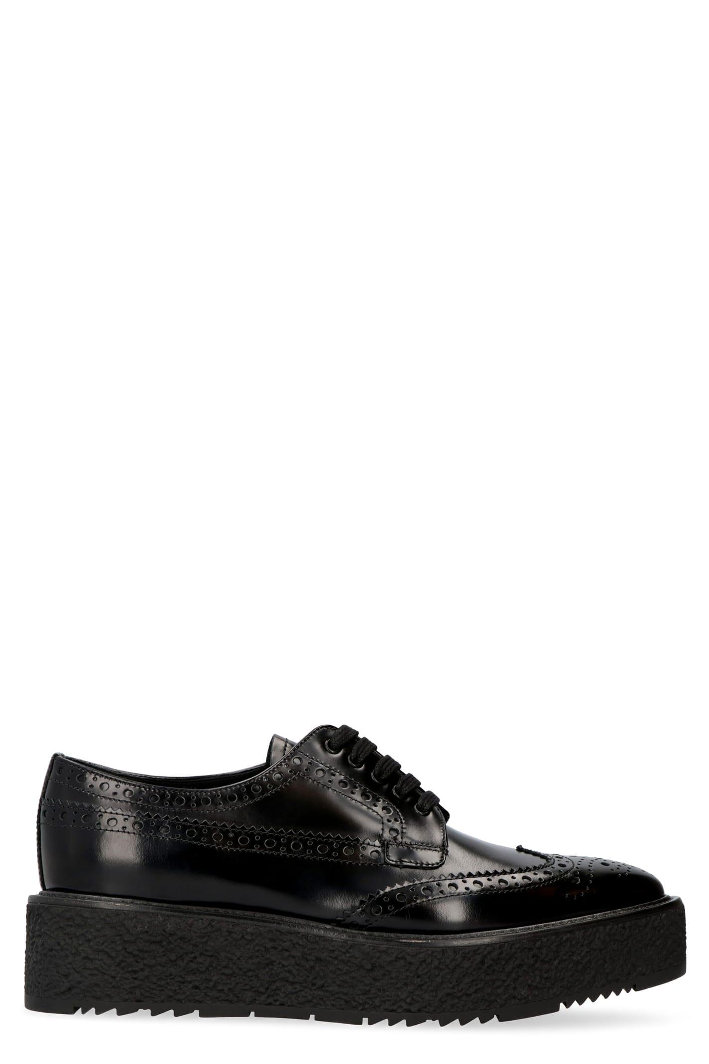 Prada Leather Brogue Shoes With Platform