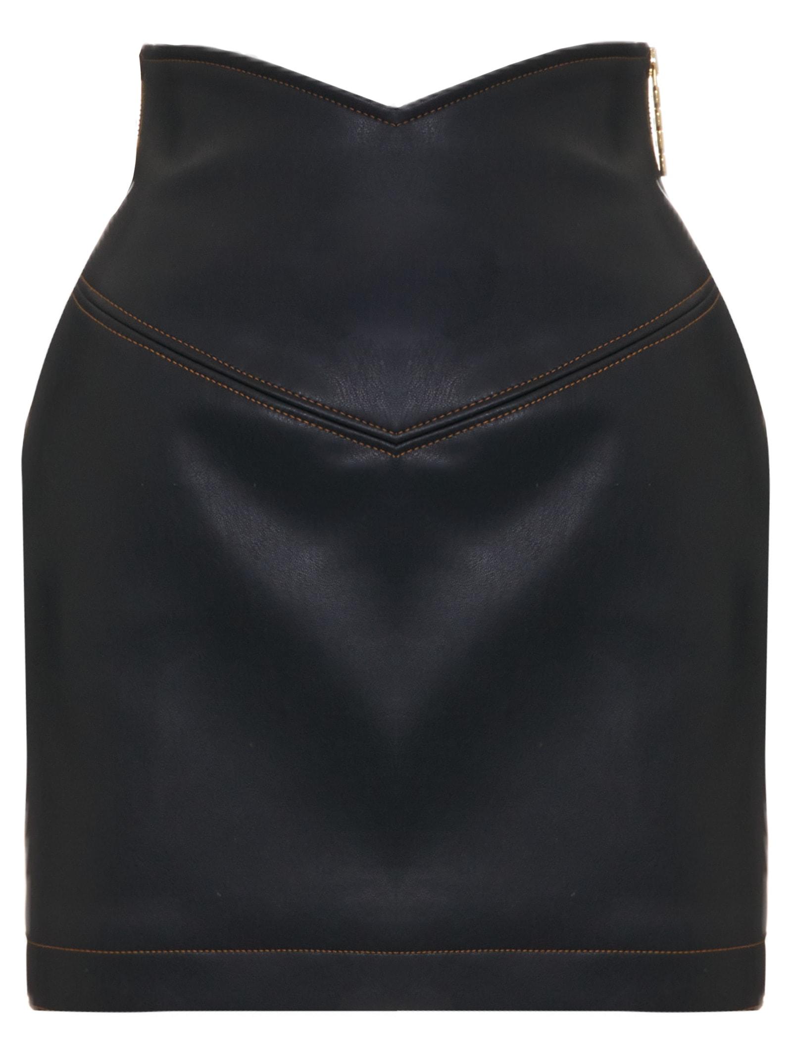 GCDS Leather V Skirt