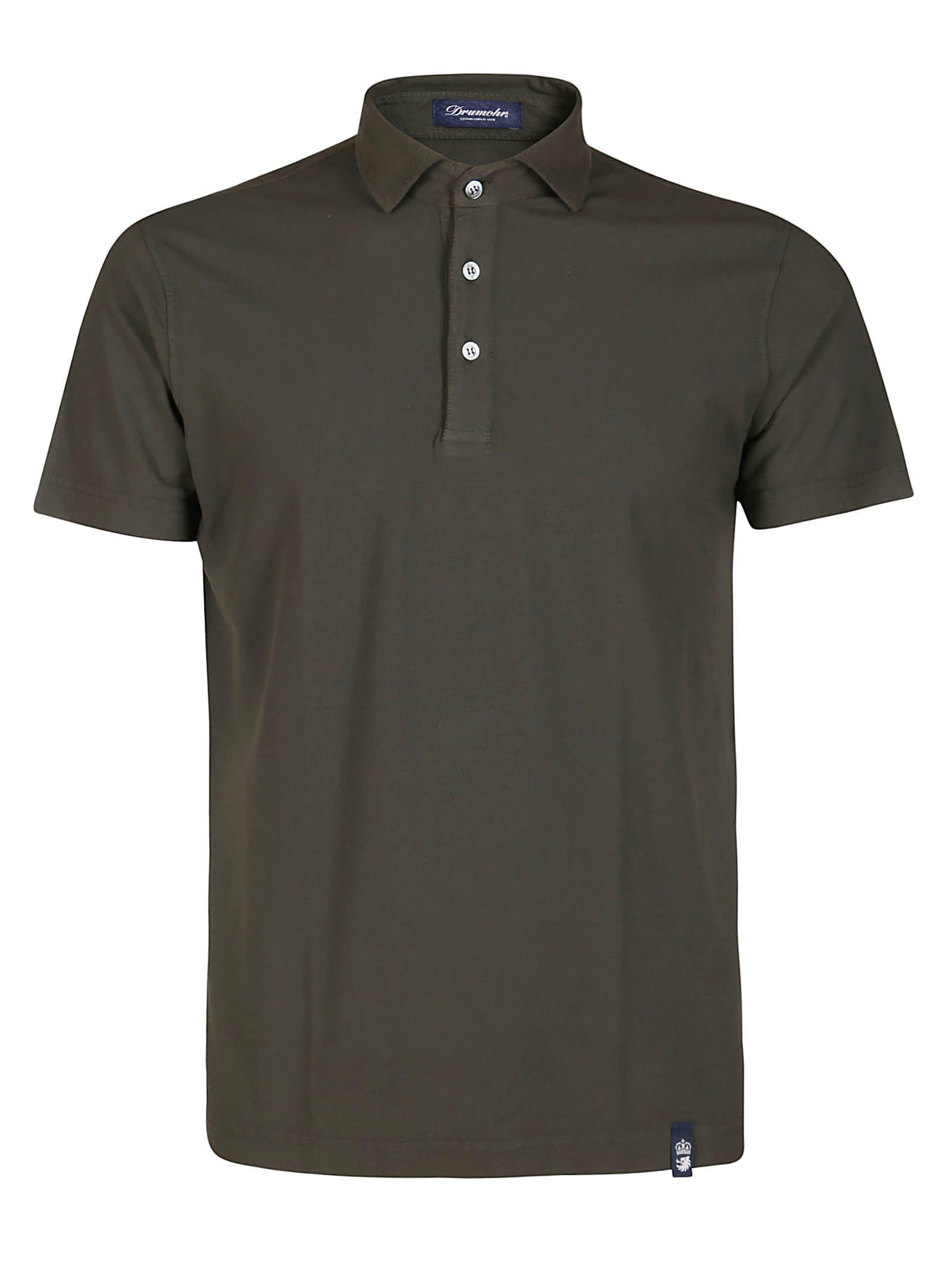Drumohr Moss Green Cotton Polo Shirt