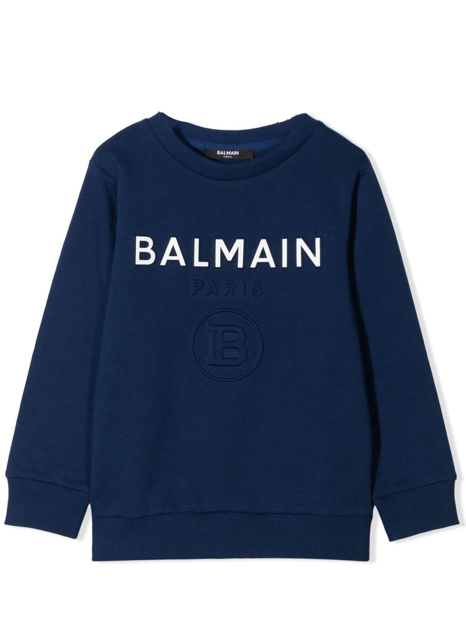 Balmain Blue Cotton Sweatshirt