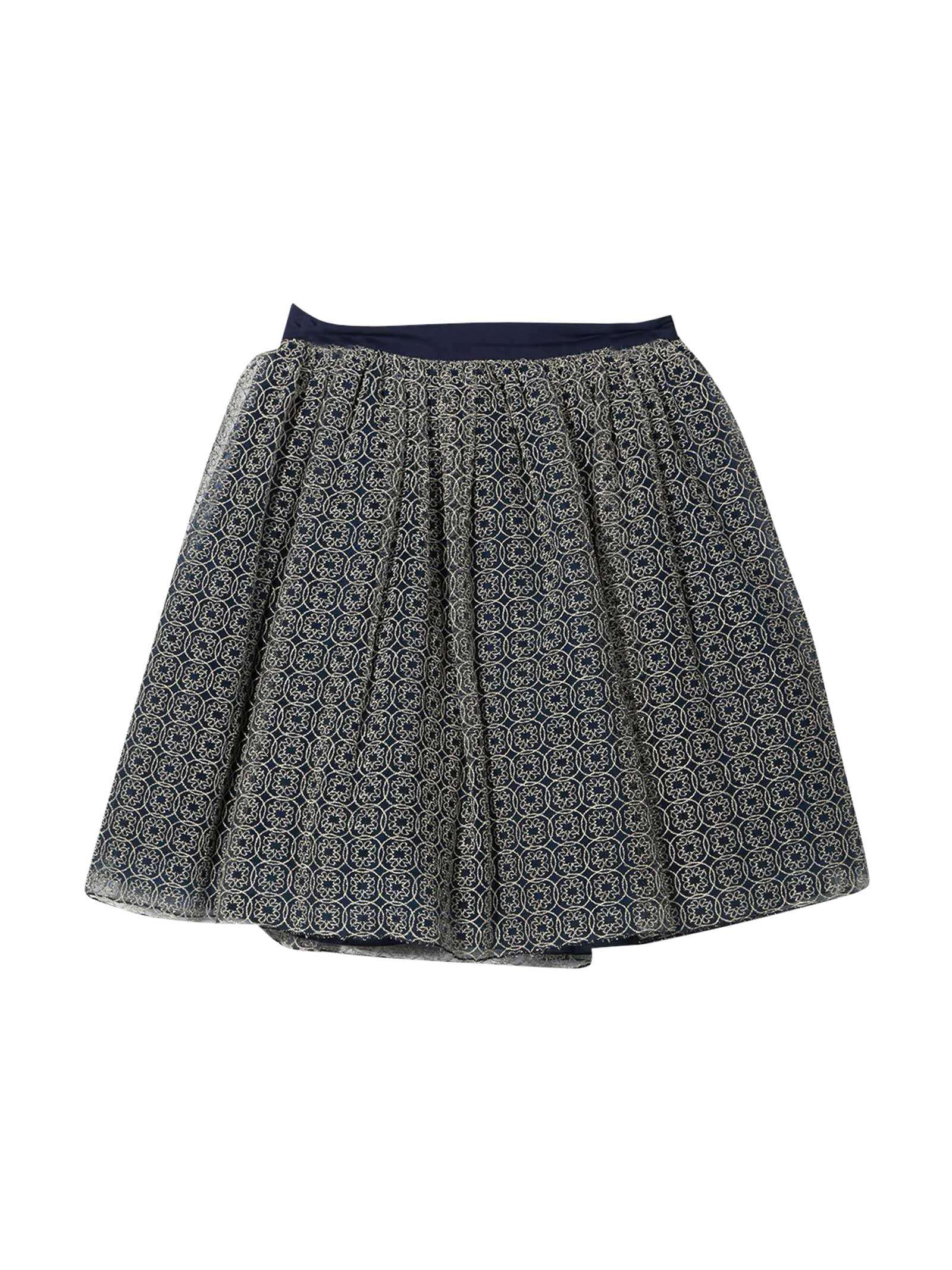 Elie Saab Blue Skirt With Gold Print