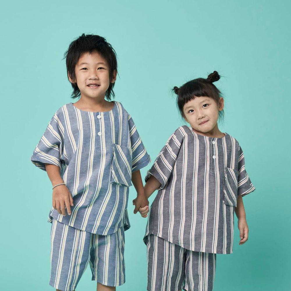 WHITE CLOTHING - F09 孩童款 日本 質紋牛津布料 時尚直紋套裝 (二色)