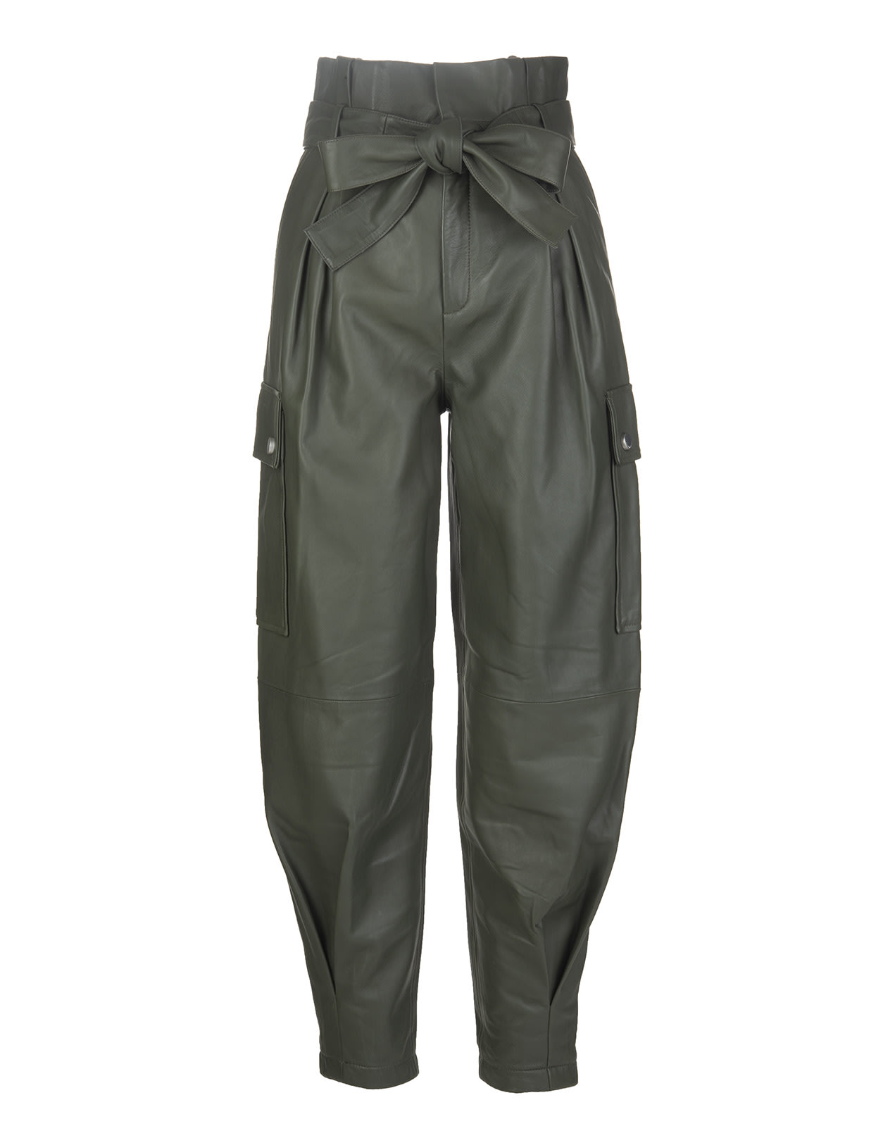 RED Valentino Military Green Leather Trousers With Belt