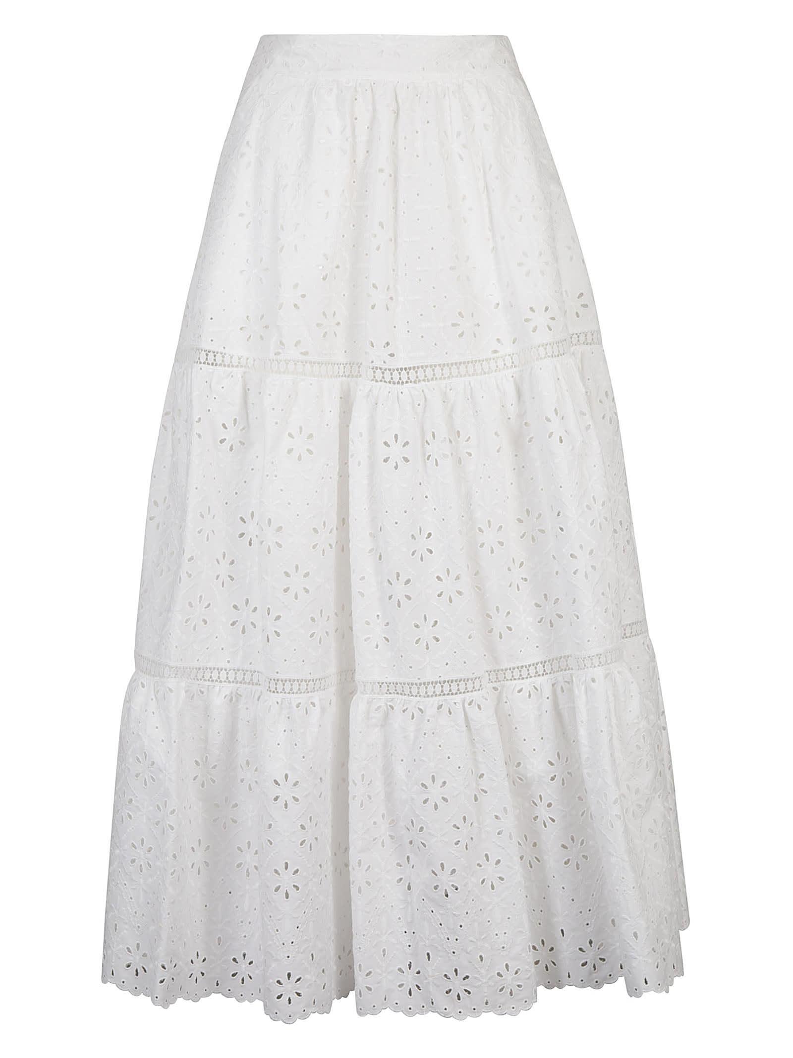 Parosh Flared Floral Perforated Skirt