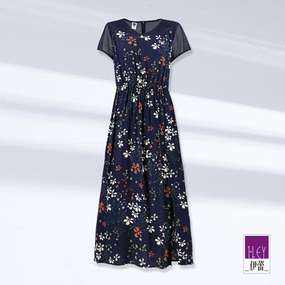 ILEY伊蕾 夏日花朵印花縷空拼接縲縈洋裝(深藍)1212067484