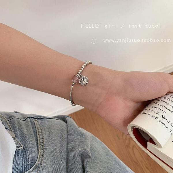 招桃花轉運草莓晶手鐲女手飾品網紅森系學生閨蜜韓版簡約個性手鏈