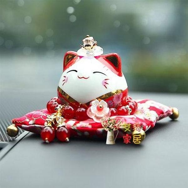 招財擺件 招財貓汽車擺件陶瓷小號可愛創意車內裝飾品招財保平安