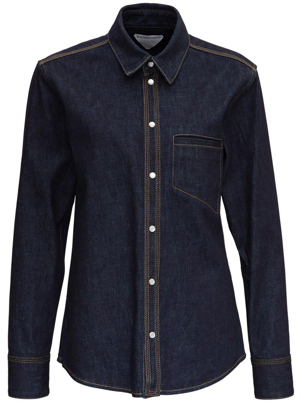 Bottega Veneta Denim Shirt With Contrasting Stitching