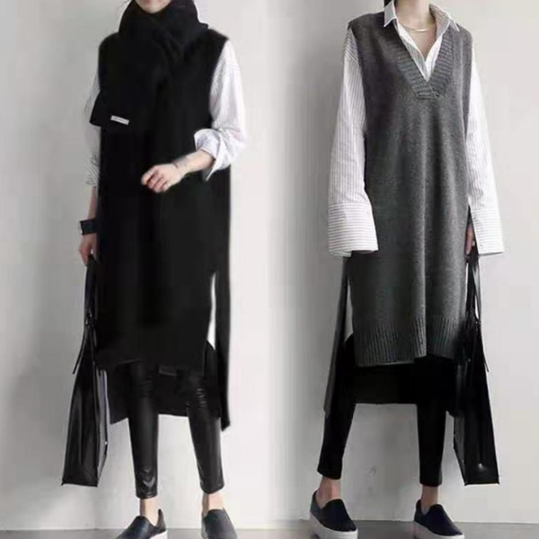 韓國INS風前短後長V領針織背心裙 長版毛衣裙(2色)-優美依戀