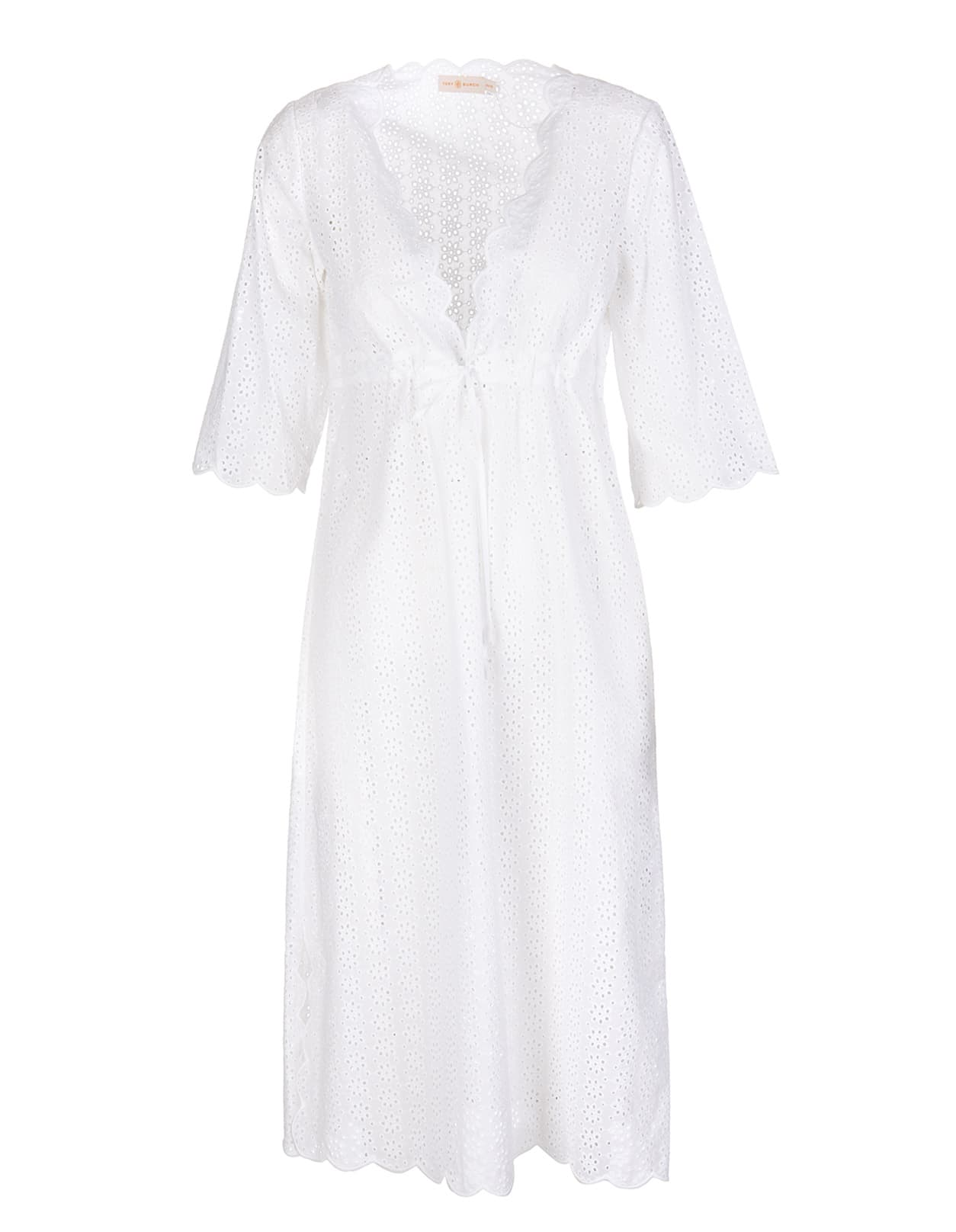 Tory Burch White Cotton Broderie Anglaise Dress Woman