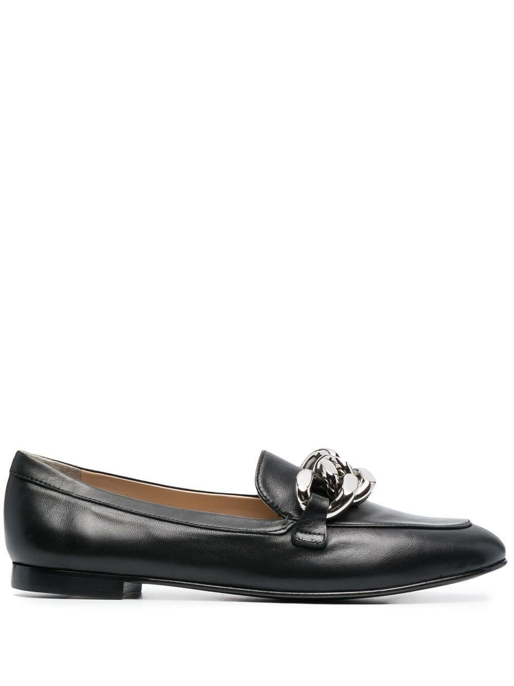 Casadei Leather Loafers With Chain Buckle