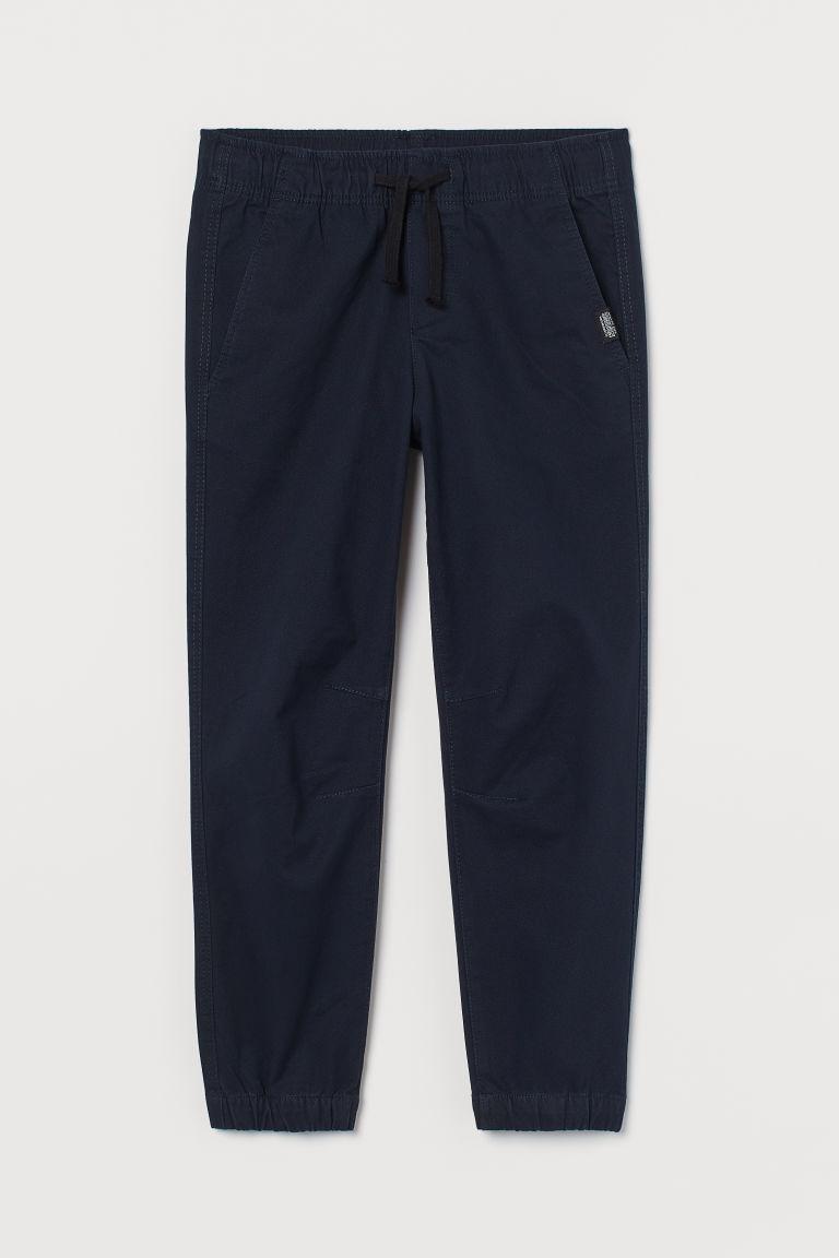 H & M - 棉質斜紋慢跑褲 - 藍色