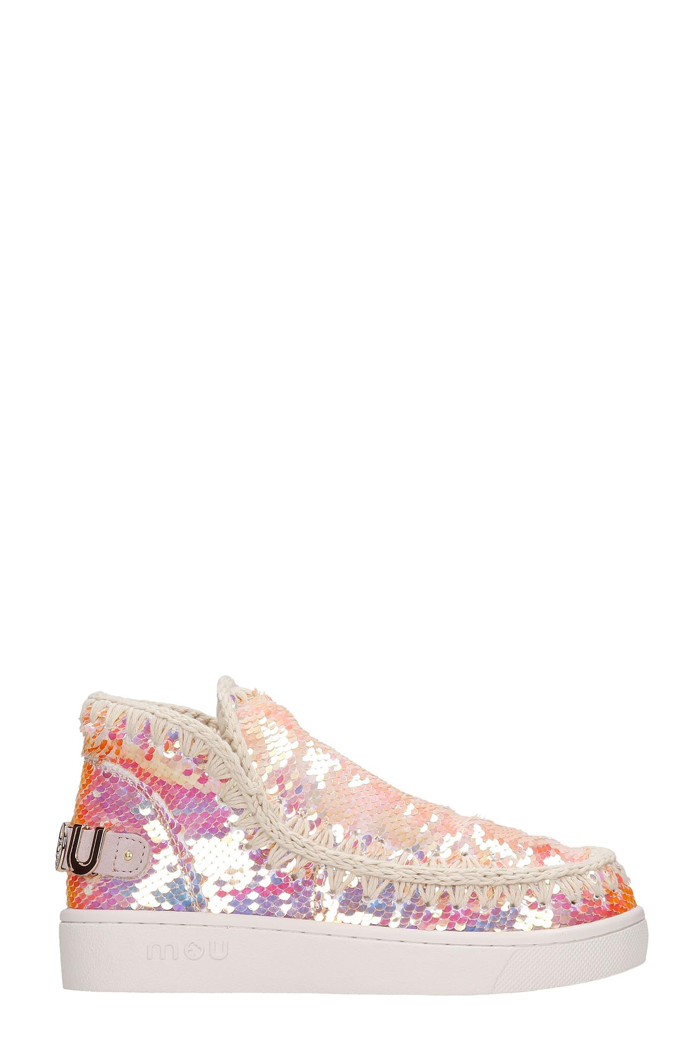 Mou Summer Eskimo Low Heels Ankle Boots In Beige Synthetic Fibers
