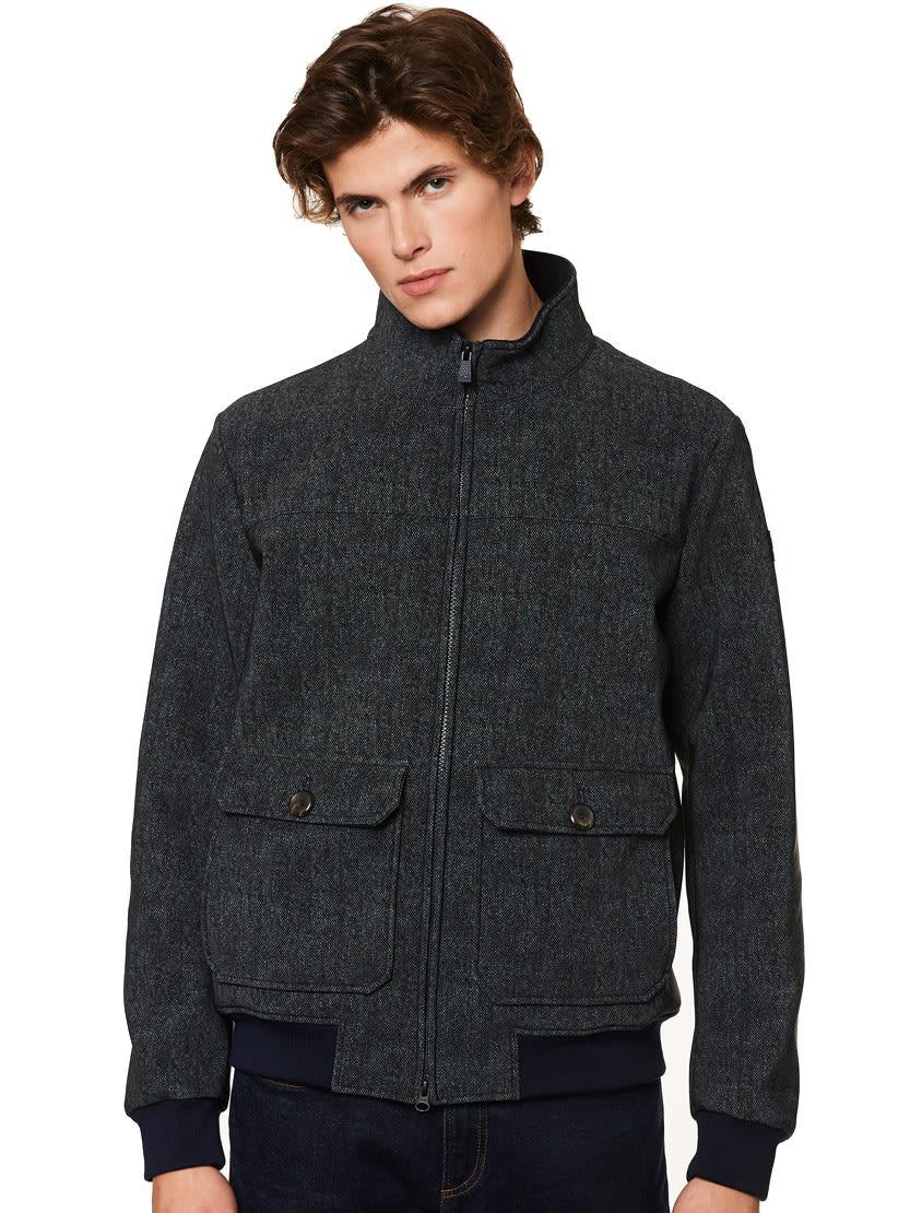 MC2 Saint Barth Blue Melange Thermo Jacket Wool Effect