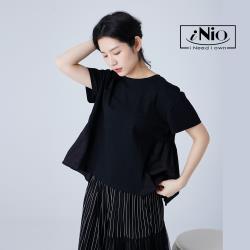 【iNio】拼接風後背微抓皺圓領短袖上衣-現貨快出【C1W1157】