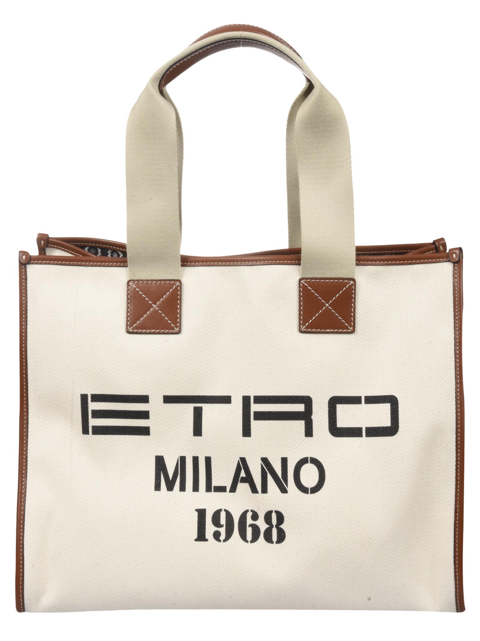 Etro Logo Print Tote