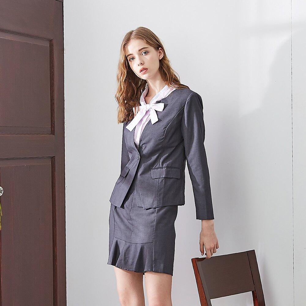 【MASTINA】上班族單扣西裝-女長袖外套(灰色/版型適中)