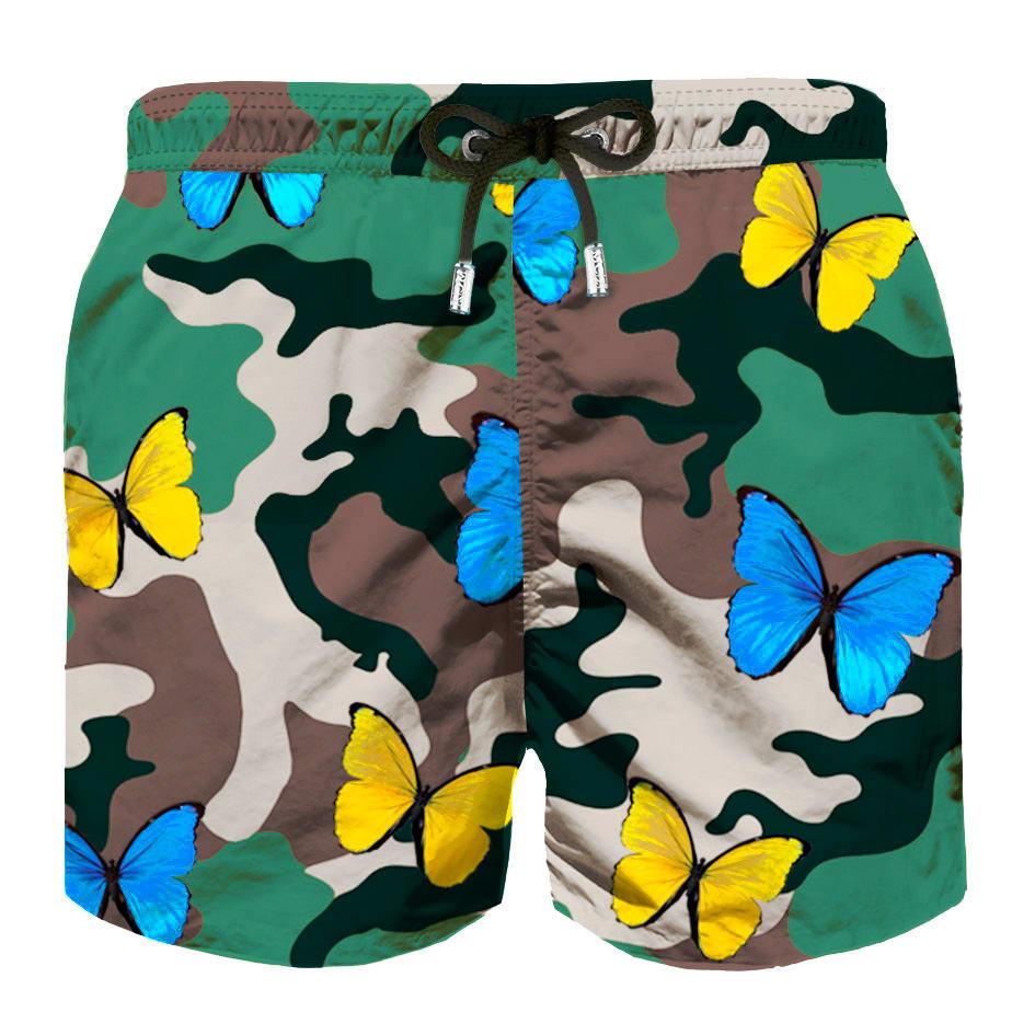 MC2 Saint Barth Camo Butterflies All Over Print Boys Light Swimshorts