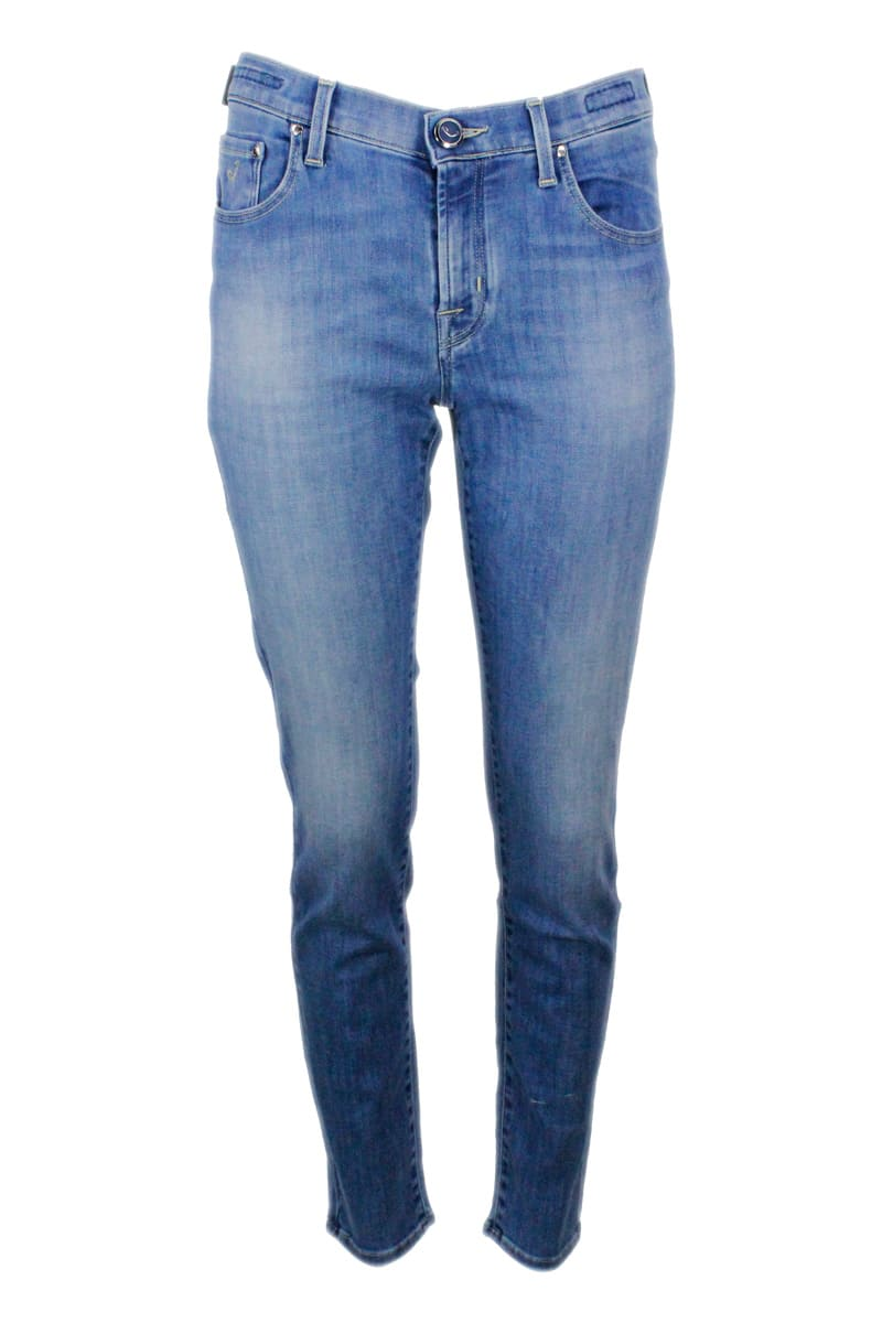 Jacob Cohen Jeans In Denim 5-pocket Regular Trousers In Stretch Cotton With Natural Indago Zip