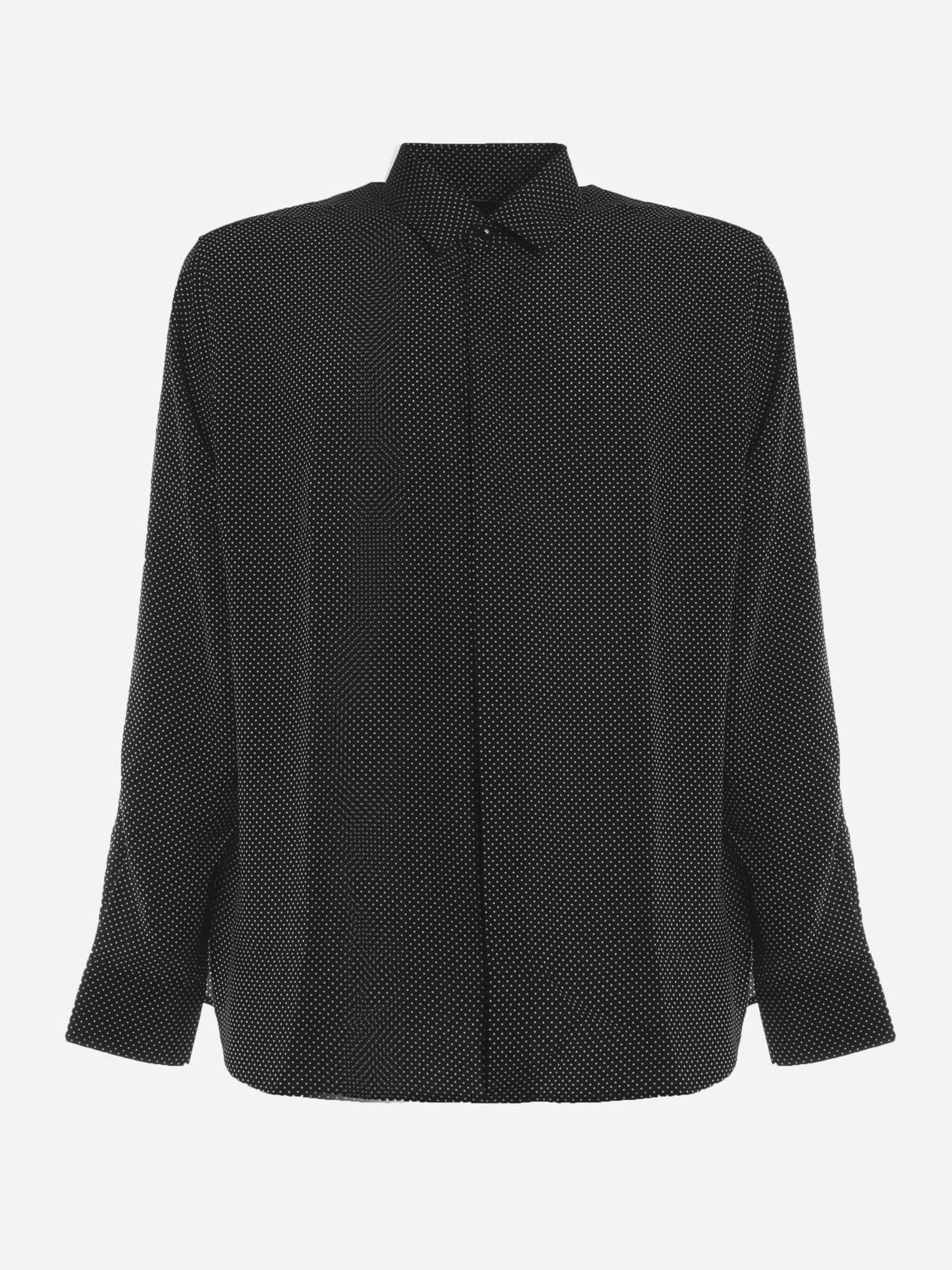 Saint Laurent Polka Dot Print Silk Shirt