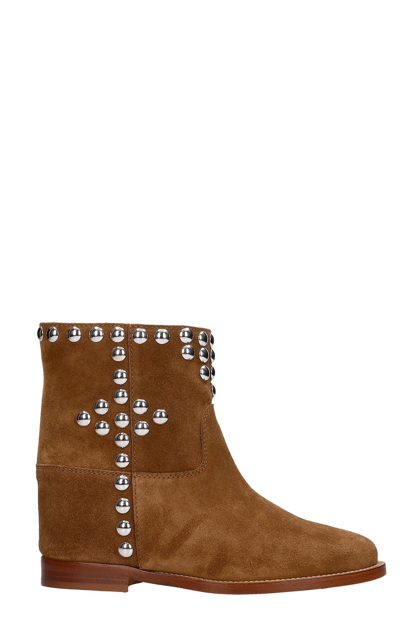 Via Roma 15 Ankel Boots Inside Wedge In Brown Suede