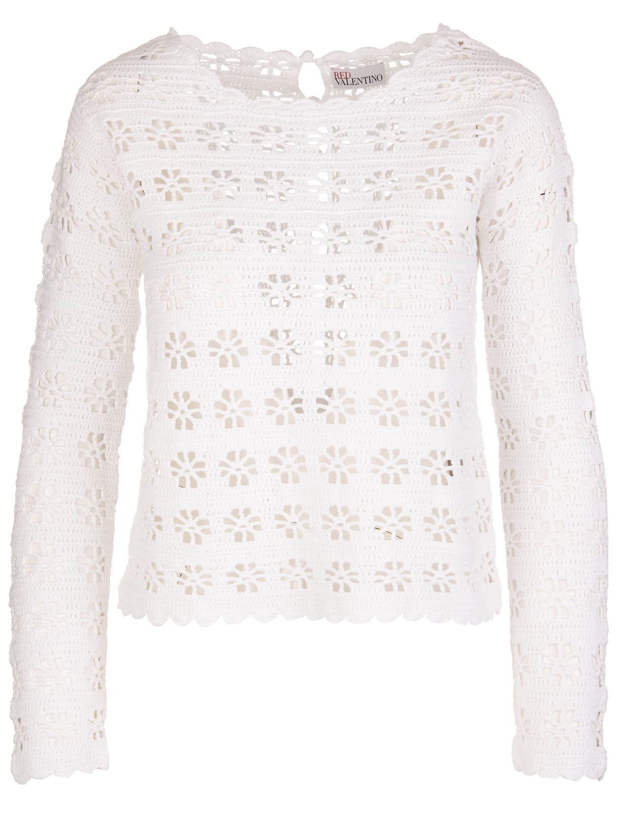 RED Valentino White Shirt With Cu-out Flowers