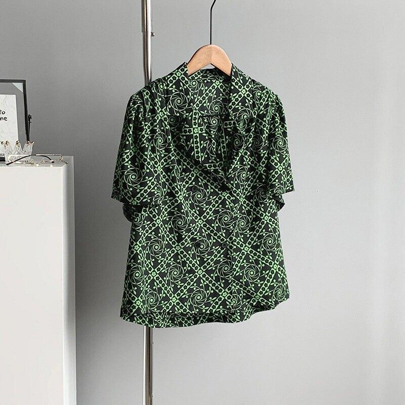 2021夏復古港風襯衫設計感摩登碎花女寬鬆短袖雪紡上衣