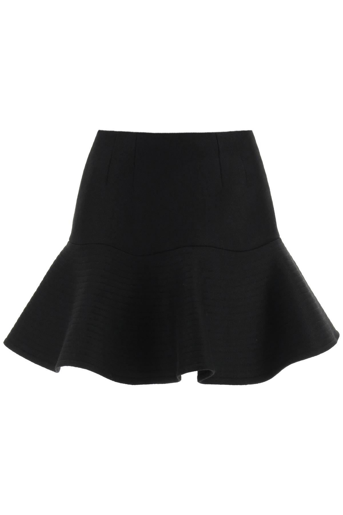 Patou 3d Mini Skirt In Boiled Wool